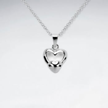Sterling Silver Duel Hearts Pendant