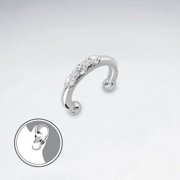Sterling Silver Ear Cuff with CZ Detail