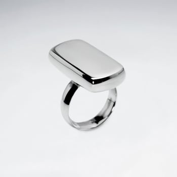 "Sterling Silver Edgy Rectangle ""Button"" Ring"