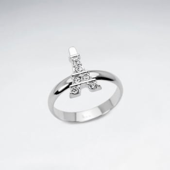 Sterling Silver Eiffel Tower With Crystal Ring