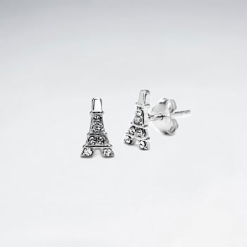 Sterling Silver Eiffel Tower With Crystal Stud Earrings
