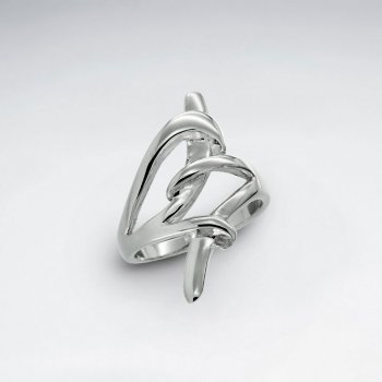 Sterling Silver Elaborate Open Knot Design Ring