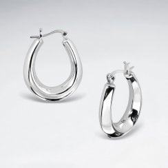 Sterling Silver Electroforming U Hoop Earrings