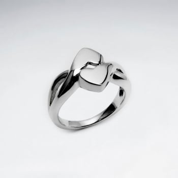 Sterling Silver Elegant And Modern Style Heart Ring