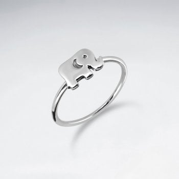 Sterling Silver Elephant Silhouette Ring