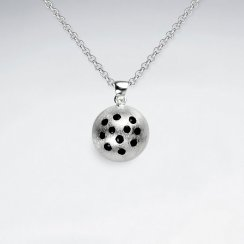 Sterling Silver Enamel Dotted Domed Circle Pendant
