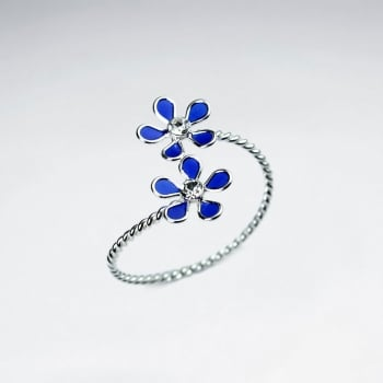 Sterling Silver Enamel Double Flower Wrap Ring