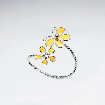 Sterling Silver Enameled Butterfly and Flower Open Twist Ring