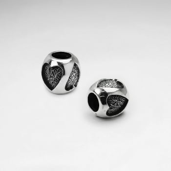 Sterling Silver Engraved Hearts Beads
