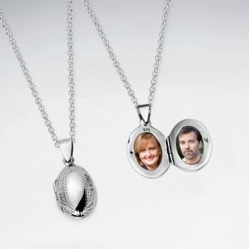 Sterling Silver Engraved Oval Photo Locket
