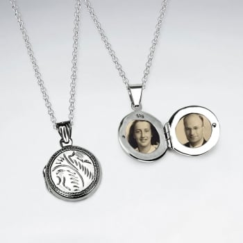 Sterling Silver Engraved Picture Locket Pendant