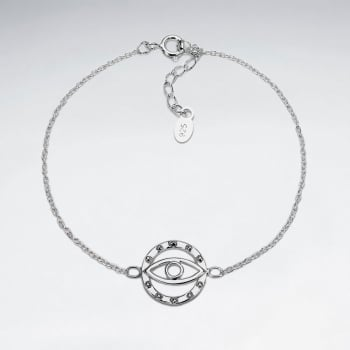 Sterling Silver Evil Eye Adjustable Chain Bracelet