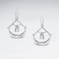 Sterling Silver Exotic Designs Drop Hook Earrings
