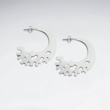Sterling Silver Fading Half Moon Sand Blasted Stud Earrings