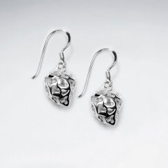 Sterling Silver Fancy Heart Polished Drop Dangle  Earrings