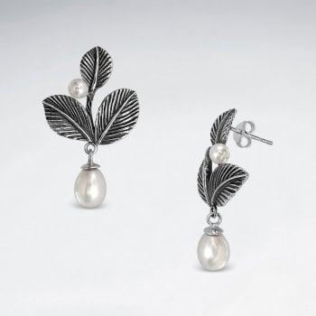 Sterling Silver Faux Pearl Leaf Dangle Earrings