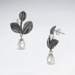 Sterling Silver Faux Pearl Leaf Dangle Earrings