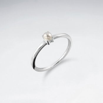 Sterling Silver Faux Pearl Solitaire Ring