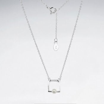 Sterling Silver Faux Pearl Square Necklace