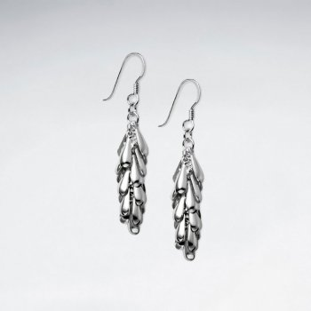 Sterling Silver Feathered Drop Dangle Earrings