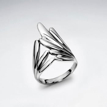 Sterling Silver Feathery  Design Ring