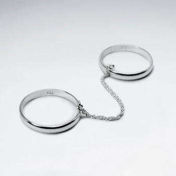 Sterling Silver Features A Chain That Links These Double Rings.
