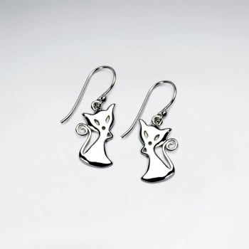 Sterling Silver Feline Grace Dangle Earrings