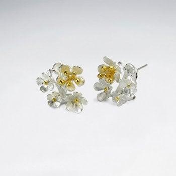 Sterling Silver Femme Festive Floral Cluster Stud Earrings