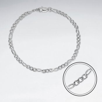 Sterling Silver Figaro Cable Chain Bracelet