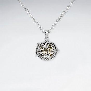 Sterling silver Filigree Bali Ball Box Pendant