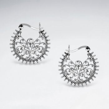 Sterling Silver Filigree Bali Hook Earrings