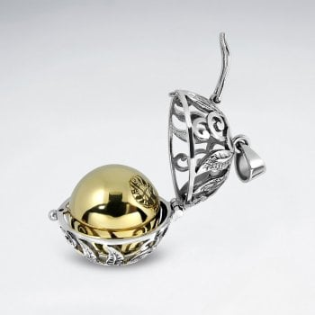 Sterling Silver Filigree Cage Pendant With Brass Ball