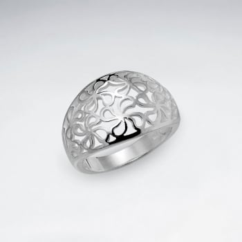 Sterling Silver Filigree Flower Design Ring