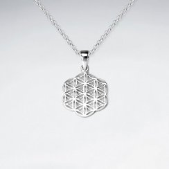 Sterling Silver Filigree Flower Silhouette Pendant