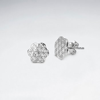 Sterling Silver Filigree Flower Silhouette Stud Earrings
