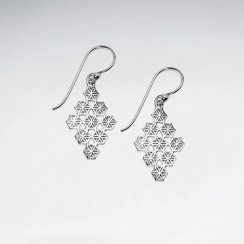 Sterling Silver Filigree Marquise Silhouette Earrings