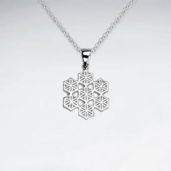 Sterling Silver Filigree Snowflake Silhouette Pendant