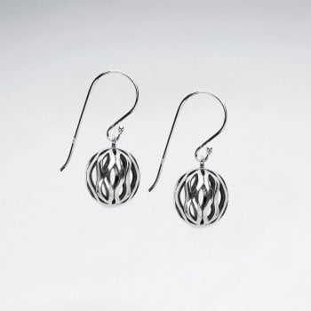 Sterling Silver Filigree Tree-Dimensional Ball Earrings