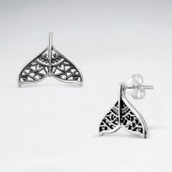 Sterling Silver Filigree Whale Tail Stud Earrings
