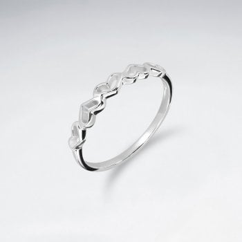 Sterling Silver Five Open Hearts Ring