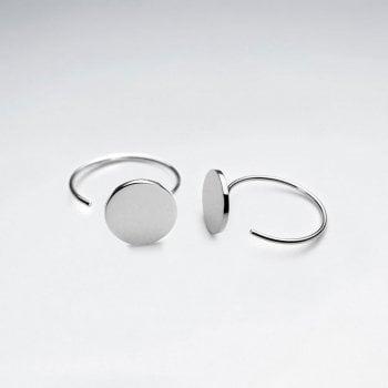 Sterling Silver Flat Circle Silhouette Hoop Earrings