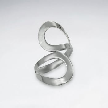 Sterling Silver Flat Curve Surface Design Ring