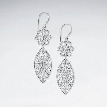 Sterling Silver Floral Artwork Filigree Double Drop Dangle Earrings
