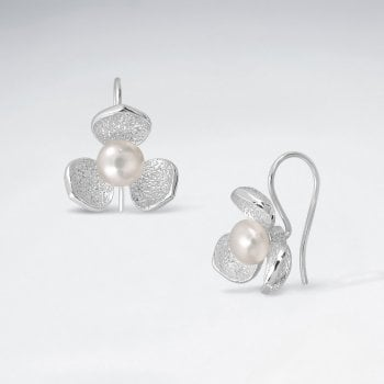 Sterling Silver Floral Faux Pearl Earrings