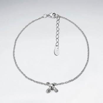 Sterling Silver Floral Inspired Dainty Chain Bracelet