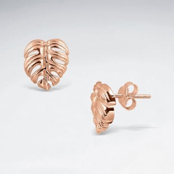 Sterling Silver Floral Leaf Stud Earrings