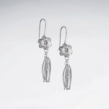 Sterling Silver Flower and Tassel Dangle Earrings