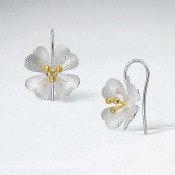 Sterling Silver Flower Bloom Hook Earrings