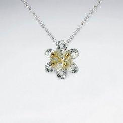 Sterling Silver Flower Blossom Pendant