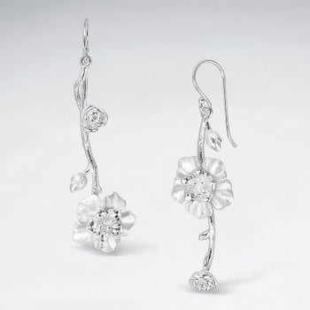 Sterling Silver Flower Dangle Drop Earrings